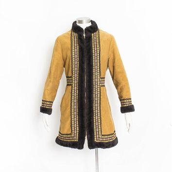 Vintage 1970s Coat - Faux Suede & Faux Shearling Embroidered Boho Penny Lane 1970s - Medium / Small