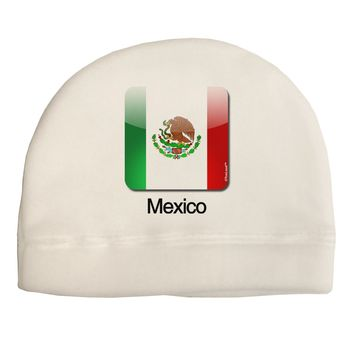 Mexican Flag App Icon - Text Adult Fleece Beanie Cap Hat by TooLoud