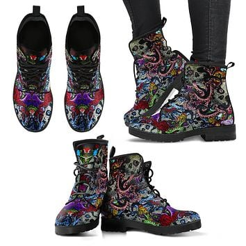 Sugar Skull Octopus Women's Handcrafted Premium Leather Boots