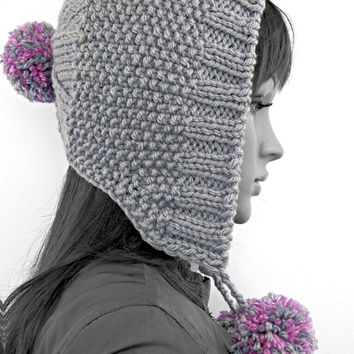 Hand knitted chunky hood hat with pompoms