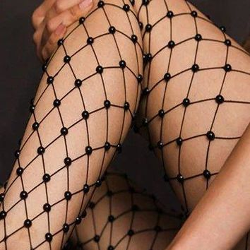 Pearl or Bead Fishnet Tights - 2 Colors
