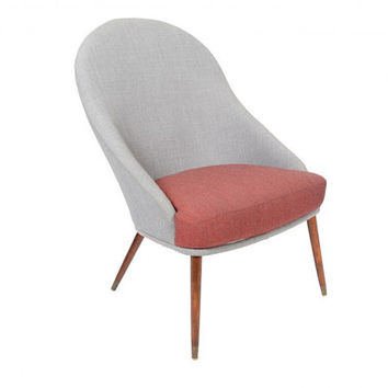 Danish Mid Century Modern Scoop Shaped High Back Lounge Chair