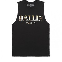 BRIAN LICHTENBERG Black Ballin Muscle Tee with Gold Foil, CIARA BODY ROCKIN' IT IN THE OFFICIAL BRIAN LICHTENBERG BALLIN MUSCLE TEE