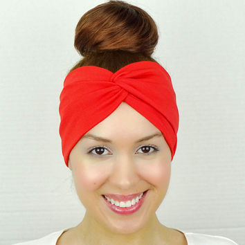Twist Headband Red Turban Headband Women's Accessories Stretch Head Wrap Women Turban Red Wide Headband Red Yoga Headband Red Twist Headband