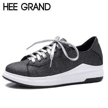 HEE GRAND 2017 Glitter Creepers Bling Shoes Woman Lace-Up Loafers Platform Flats Spring Casual Women Shoes Size 35-43 XWD5273