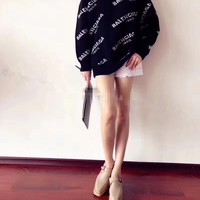 """Balenciaga"" Fashion Casual Logo Letter Print Round Neck Long Sleeve Women Sweater Tops"