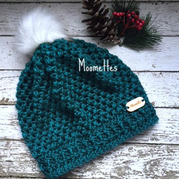Handmade Crochet Puff Stitch Slouchy Beanie Teal Green Faux Fur Pom Pom Hat Wood Button