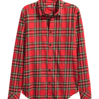 Flannel Shirt with Raw Edges - from H&M