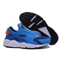 Men s 318429 402 Nike Air Huarache Shoes Gym Blue Bright Mango