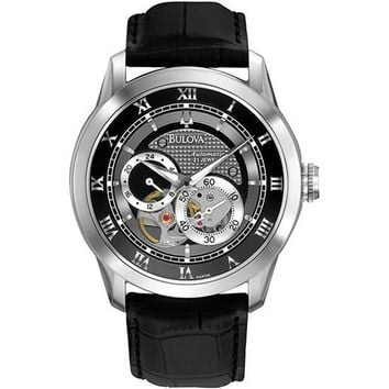 Bulova 96A135 Stainless Steel Skeleton Window Automatic Black Dial Black Leather Strap Watch