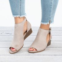 Liam Open Toe Shootie - Taupe
