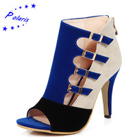 Polaris 2016 Women Sandals Plus Size 33-43 Fashion Zip High Heel Summer Women Pump Shoes Woman Office Black Blue Red SS613