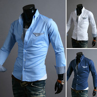 Slim Fit Design Dress Shirt with Single Pocket