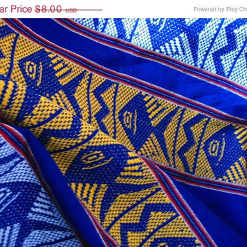 20% OFF SUMMER SALE Vintage Cobalt Blue Woven Fabric with Fish Motive (Red, Yellow and White details) in Perfect Condition