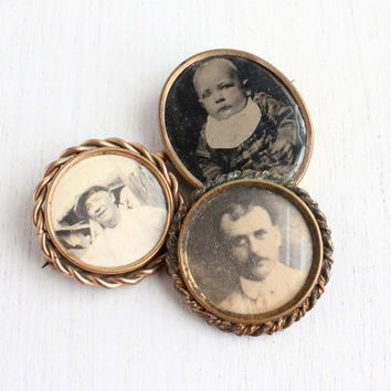 SALE - Antique Photographic Pin Lot - 3 Victorian Edwardian Gold Filled Mourning Memory Jewelry Brooches of a Baby & Two Men