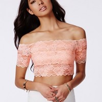 Missguided - Telimesa Nude Bardot Lace Crop Top