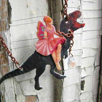 Etsy Geekery Gifts Dinosaur T-Rex Fantasy Necklace with Pink Fairy Image Art