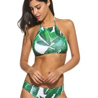 Ekouaer Womens Forest Leaves Printing High Neck Halter Bikini Set Swimsuit