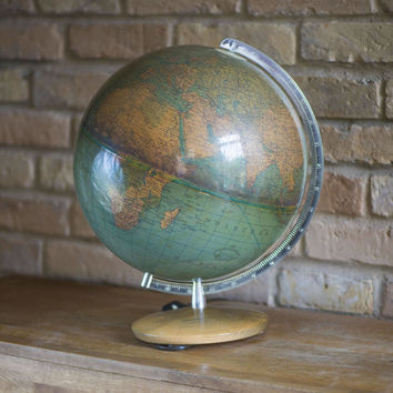 Vintage illuminated globe Columbus Erdglobus. Cold War time Physical Political globe Duplex German. Homer Decor retro globe pale blue green
