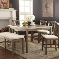 Claudia Counter Height Table with Marble Top, Brown and White