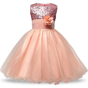 Summer flower Girls Dress sequined mesh Girl Clothing Sleeveless Princess Dresses Girl Costume