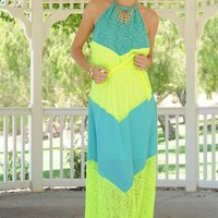 MINT NEON YELLOW LACE ACCENT HALTER TIE OPEN BACK MAXI DRESS