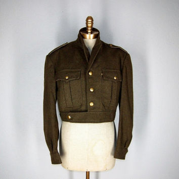 Ike Wool Military Jacket, Army Green Wool Cropped Jacket, Eisenhower jacket Large