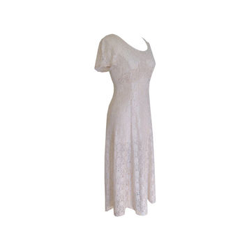 Long Sheer Taupe Lace Dress Size Medium