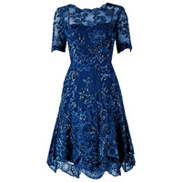 1950's Carven Haute-Couture Navy Lesage Beaded Chantilly-Lace Party Dress