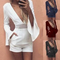 4 Colors Women Deep V Neck Jumpsuit High Waist Tunic Playsuit Romper Plus Size