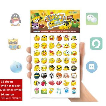 16 sheets Kawaii Cute Die Cut Emoji Sticker DIY Scrapbooking Diary Decorations Sticky Notes Memo Pad Deco Funny Smile Stickers
