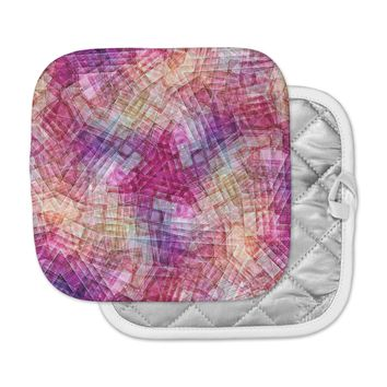 "Justyna Jaszke ""Mandala Colors Of Life"" Multicolor Pastel Abstract Pattern Digital Illustration Pot Holder"