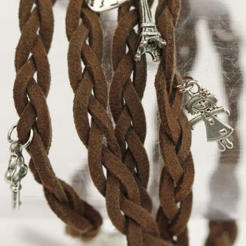 Braided Leather Friendship Charm Bracelet in Brown