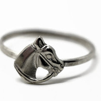 Silver Horse Head Ring, Sterling Silver Ring, Horse Jewelry, Silver Charm Ring