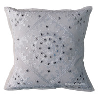 White Indian Mirror Embroidered Throw & Toss Pillow