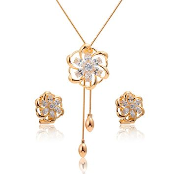 Yellow Gold Color Colorful Camellia Rainbow Flower CZ Women Costume Jewelry Sets 54mm Pendant Lariat Necklace Stud Earrings