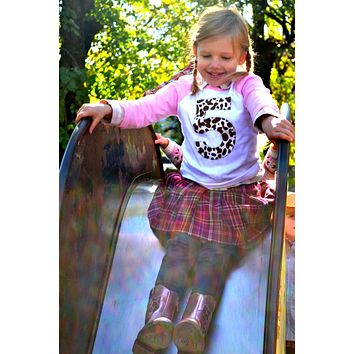 Farm Tractor Birthday shirt brown cow Girls Pink and White Raglan Number or Any Birthday Number on Birthday Shirt 5 five 5th