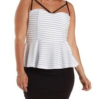 Plus Size White Combo Strappy Striped Peplum Top by Charlotte Russe
