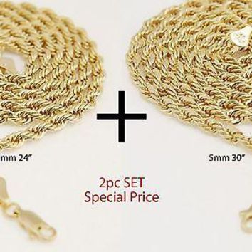 "Jewelry Kay style Men's Women's 14K Yellow Gold Plated 5 mm Rope Chain Necklace 24""+30"" 2pc Set"