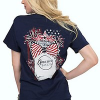 Girlie Girl Originals Women's Navy with American Mason Jar and Bow Short Sleeve Tee