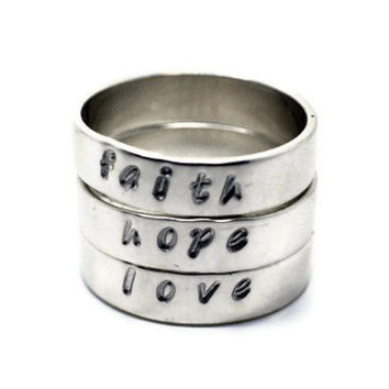 Hand Stamped Stackable Rings, Hand Stamped Jewelry, Sterling Silver Stacking Rings, Faith Ring, Hope Ring, Love Ring