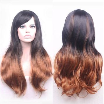 VONE2B5 68cm Fashion Sexy Long Curly Wavy Cosplay Tilted Frisette Women Wigs Hair Wig Girl Gift Black Brown Ombre