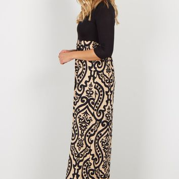 Black-Mocha-Damask-Bottom-Maxi-Dress