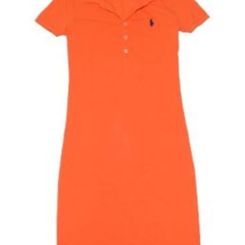 Ralph Lauren Sport Women Pony Logo Polo T-Shirt Dress (S, Neon orange)