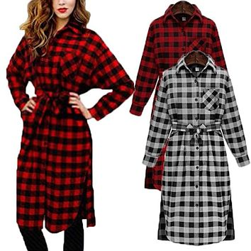 Celmia Women Vintage Check Plaid Print Shirt Dress Spring Long Sleeve Lapel Casual Loose Knee-Length Flannel Vestido
