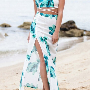 Printed Halter Srappy Cropped Top Slit Maxi Skirt Set