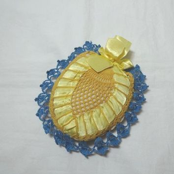 1950s Vintage Hand Crocheted Lace Pin Cushion in Blue & Yellow, Satin Ribbon, Vintage Pin Cushion, Home Sewing Notion, Vintage Sewing Decor