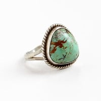 Vintage Sterling Silver Turquoise Green Stone Ring- Size 7.5 Retro Southwestern Native American Style Jewelry