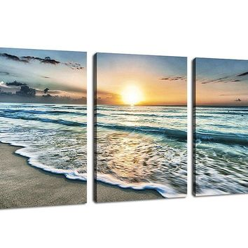 Canvas Art Wall Decoration for Home Office Sunset Beach Blue Waves Painting Contemporary Pictures Seascape Printed on Canvas Ocean Modern Artwork 3 Pieces Framed Ready to Hang