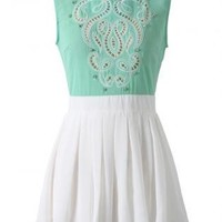 Sea-foam and White Skater Dress with Embellished Top